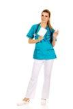 Female nurse holding gauze and hydrogen peroxide.  Stock Photo