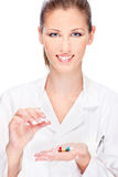 Female nurse holding  medics Stock Photography