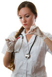 Female nurse holding a syringe isolated Royalty Free Stock Photography