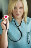 Female nurse in love stock photos