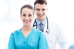 Female nurse and male doctor Royalty Free Stock Photo