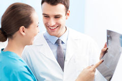 Female nurse and male doctor Stock Image