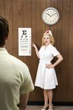 Female nurse pointing out eye chart to man. Royalty Free Stock Images