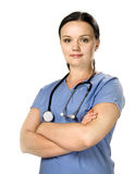 Female nurse with stethoscope Royalty Free Stock Images