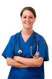 Female Nurse with Stethoscope Isolated Royalty Free Stock Image