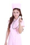 Female nurse with stethoscope Royalty Free Stock Photo