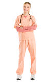 Female Nurse With Stethoscope Standing Arms Crossed Stock Image