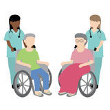 Female nurse with wheelchair patient. Illustration Vector Illustration
