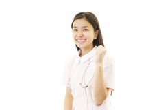 The female nurse who poses happily Stock Photos