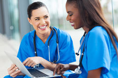 Female nurses fun stock photo