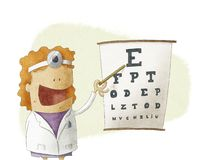 Female oculist doctor pointing on a eyesight test chart Stock Photos
