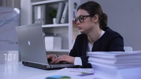 Female office employee feeling unhappy about workload, having no time for rest. Stock footage stock footage
