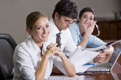 Female office worker in business meeting Stock Photo
