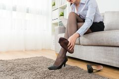 Female office worker finished work back to home stock images