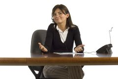 Female office worker with headset Royalty Free Stock Photos