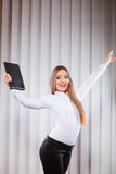 Female office worker hold case show victory sign. Stock Image