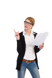 Female office worker holding documents and pointing. Royalty Free Stock Photo