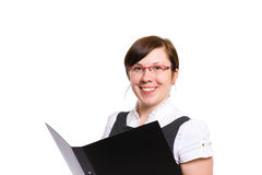 Female office worker holds black folder, isolated Stock Photo