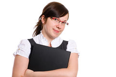 Female office worker holds black folder, isolated Royalty Free Stock Images