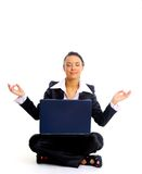 Female office worker relaxing Royalty Free Stock Image
