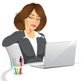 Female office worker suffering neck pain Royalty Free Stock Photography