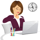 Female office worker suffering neck pain Royalty Free Stock Photo