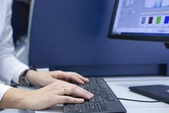 Female office worker typing on the keyboard stock photo