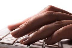 Female office worker typing on the keyboard Stock Images