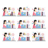 Female Office Worker Daily Work Scenes With Different Emotions, Set Of Illustrations Of Busy Day At The Office Stock Photos