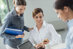 Female office workers in the office Royalty Free Stock Images