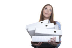 Female officer carries stack of folders Royalty Free Stock Photos