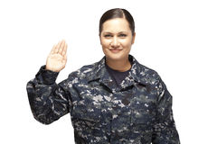 Female officer performing oath Royalty Free Stock Image