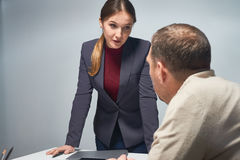 Female Official Asking Questions Stock Images