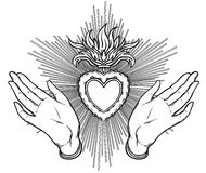Female open hands around sacred heart of Jesus. Hope faith and h. Elp, assistance and support symbol. Black and white vector illustration in vintage style Stock Photos