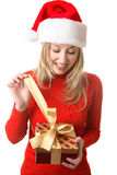 Female opening a present Royalty Free Stock Photos