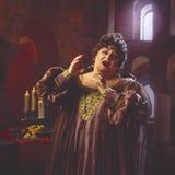 Female opera singer_2. Opera diva in full singing mode Royalty Free Stock Images
