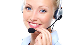 Female operator with headphones Royalty Free Stock Photo