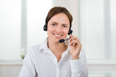 Female Operator With Headset Royalty Free Stock Image