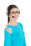 Female operator with headset showing thumb up Royalty Free Stock Photography