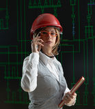 Female operator make call in power distribution control center Royalty Free Stock Photos