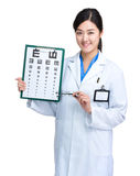 Female optician doctor Stock Image