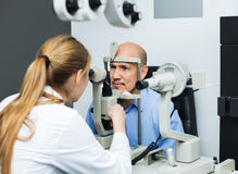 Female optician doing eye examination with aid of slit lamp Royalty Free Stock Photo