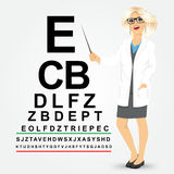 Female optician pointing to snellen chart Royalty Free Stock Images
