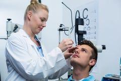Female optometrist putting eye drop in patient eyes Royalty Free Stock Image