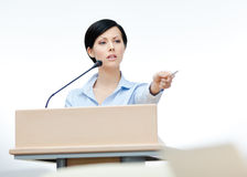 Female orator at the board Stock Image