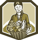 Female Organic Farmer Crop Harvest Woodcut Stock Images