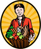 Female organic farmer harvest Royalty Free Stock Image