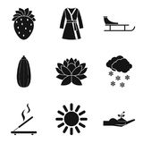 Female organism icons set, simple style. Female organism icons set. Simple set of 9 female organism vector icons for web isolated on white background Royalty Free Stock Images
