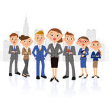 Female oriented businessman group and building. Group of men and women in sympathy with ability Stock Image