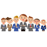 Female oriented businessman group. Group of men and women in sympathy with ability Stock Photos